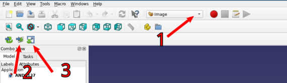 1: image mode selector; 2: import image button; 3: re-scale image button