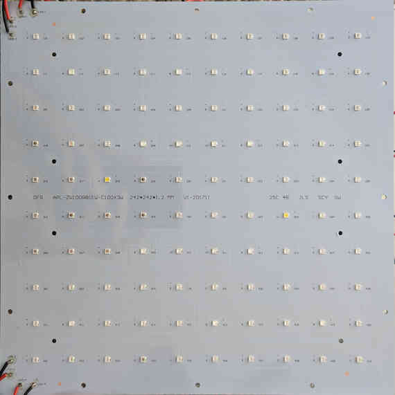 The front of the LED PCB. Each constant-current power supply is attached to 24 LEDs in series.