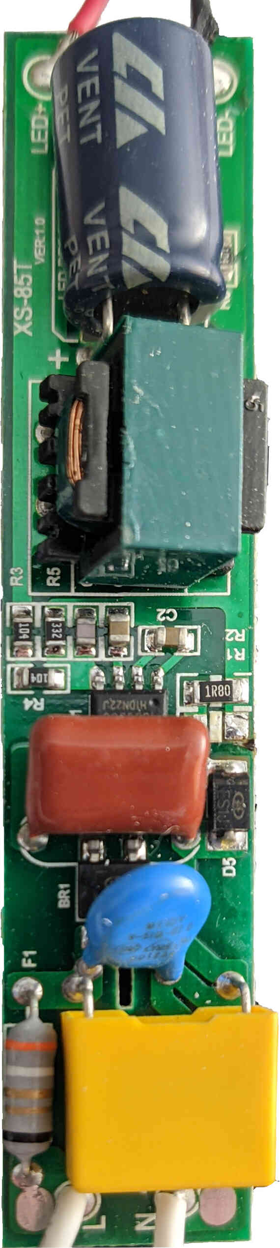 The circuit board for the fan constant-current power supply. This is a non-isolated power supply, and will go all the way up to line voltage if there is no load.